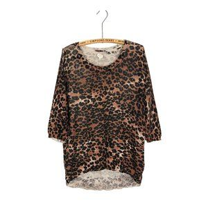 Wilfred Silk Cashmere Leopard Print Knit Sweater